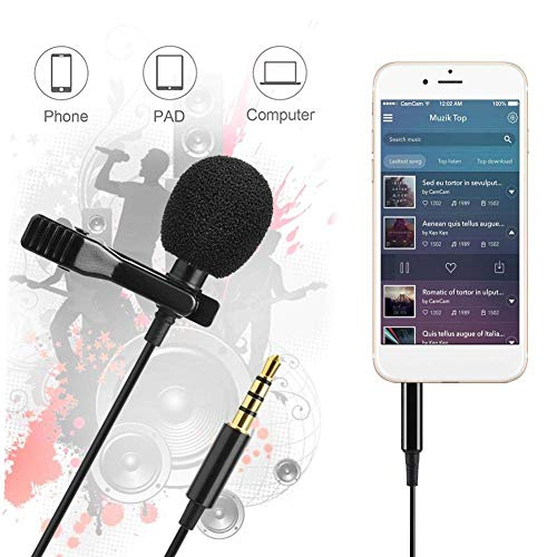 Rolgo1 Coller mic for Recording YouTube Mobile Video Recording Lavalier Microphone for PC Bloggers and Vloggers Lapel Mic Clip-on Omnidirectional with 4.5Meter Wire