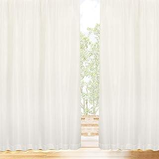 [カーテンくれない] プライバシーミラーレース 【冬温夏涼】 サラクールとウェーブロン使用で昼も夜も目隠し 140サイズ (31.7%断熱効果 約90% UVカット 遮像 日本製 カーテン レース ミラー レースカーテン 断熱 保温) トウオンカリョウ 色:ナチュラル サイズ:(幅)100×(丈)198cm×2枚組