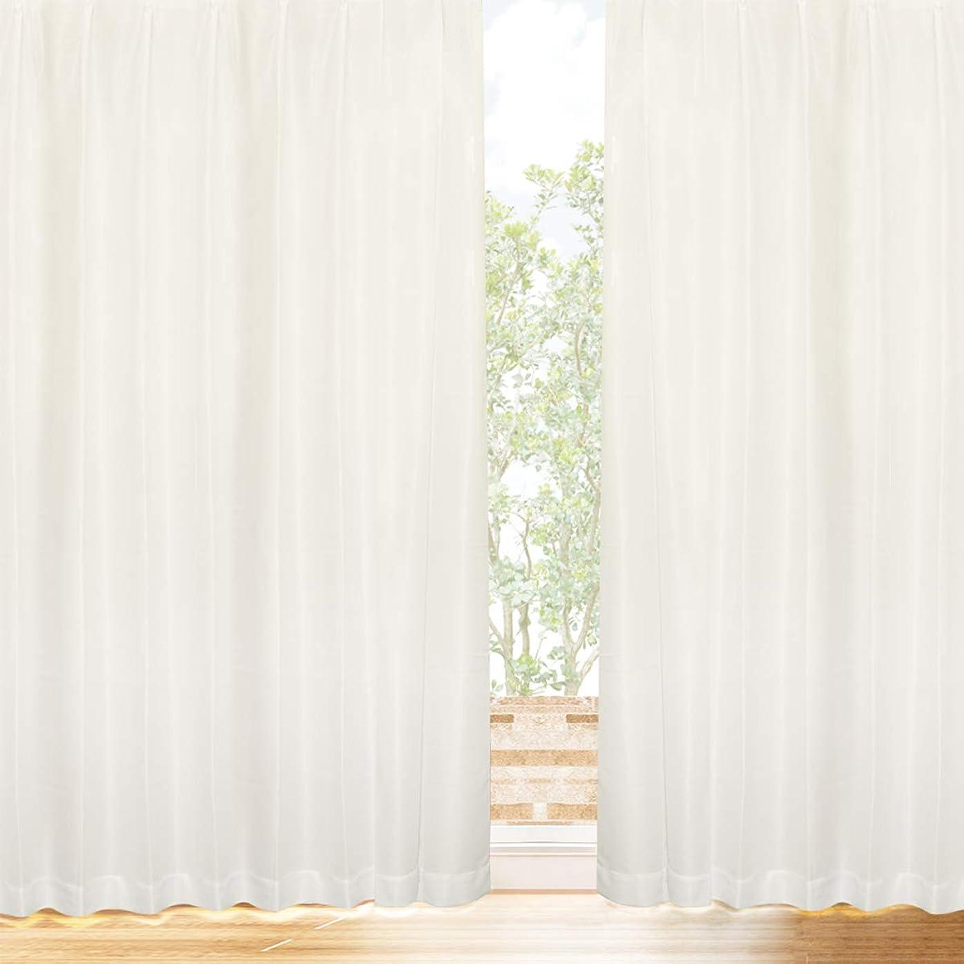 起きて出来事メトロポリタン[カーテンくれない] プライバシーミラーレース 【冬温夏涼】 サラクールとウェーブロン使用で夜も目隠し 遮熱効果 (31.7%断熱効果 約90% UVカット 遮像 昼夜目隠し 日本製 カーテン レース ミラー レースカーテン 遮熱 保冷) トウオンカリョウ 色:ナチュラル サイズ:(幅)100×(丈)188cm×2枚組 / Aフック