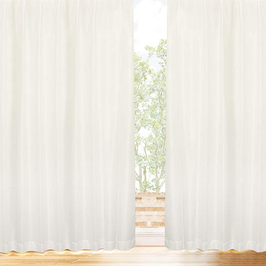 香港からに変化する芸術的[カーテンくれない] プライバシーミラーレース 【冬温夏涼】 サラクールとウェーブロン使用で夜も目隠し 遮熱効果 (31.7%断熱効果 約90% UVカット 遮像 昼夜目隠し 日本製 カーテン レース ミラー レースカーテン 遮熱 保冷) トウオンカリョウ 色:ナチュラル サイズ:(幅)100×(丈)188cm×2枚組 / Aフック