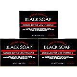 BLACK SOAP African Formula Cocoa Butter Vitamin E Jabon Negro Cacao 3.5oz - 3 PK