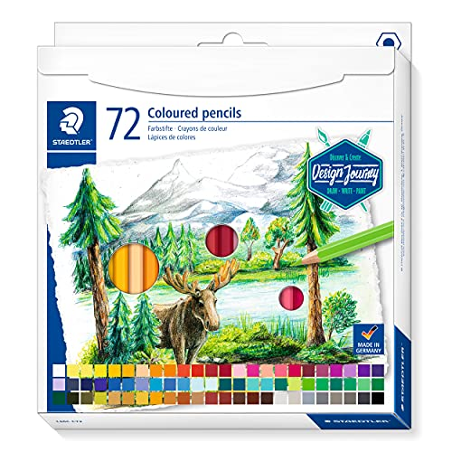 STAEDTLER 146C C72 - DESIGN JOURNEY Lápices de colores con mina blanda, alta pigmentación, forma hexagonal clásica, Estuche de cartón con 72 lápices en colores intensos, multicolor