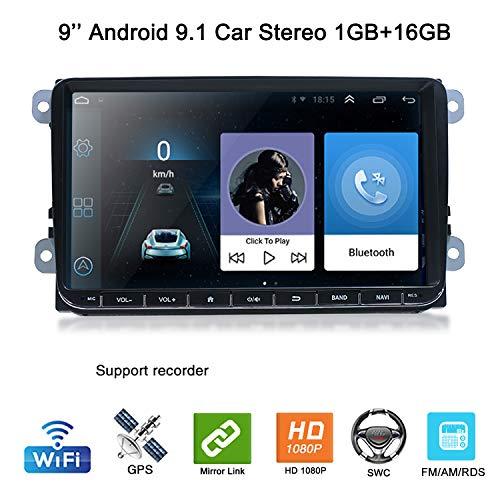 9,0 Zoll Android 9,1 Autoradio GPS NAV 2 Din Car Stero Bluetooth WiFi AM/RDS 16GB Lenkradsteuerung Tuning für VW Skoda SEAT Polo Golf Passat Touran T5 Octavia