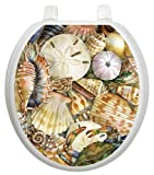 Toilet Tattoos, Toilet Seat Cover Decal,Tidal Treasures Seashell, Size Round/standard