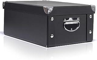 FIRINER 収納ボックス 折り畳み式 整理箱 ふた付き 収納ケース おしゃれ 雑貨収納 積み重ね可能 整理ボックス 持ち手付き 持ち運び便利 折りたたみコンテナ 大容量 スタックボックス ブラック 31.5*22.5*13.7cm