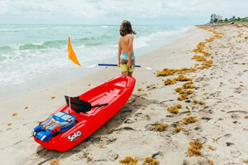 Pelican solo 6 feet sit-on-top youth kayak |pelican kids kayak|perfect for kids comes with kayak accessories 3 designed with an open cockpit, molded carrying handle for easy carrying, this lightweight kayak provides is the perfect first watercraft for your young ones. The twin tunnel makes it easily maneuverable and provides ultra stability which allows quick mastering of the kayak. This self-bailing sit-on kayak has a maximum capacity of 100 lb. / 45, 4 kg. Has a swim-up rear deck with a handle so you can easily board the kayak from the water.