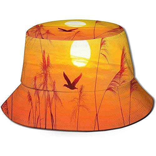 William Bacon Gorra de Pescador, Juncos contra la luz del Sol sobre el Cielo en la Puesta del Sol con la Imagen de la Fauna del Tema Flying Bird, Sombrero de Playa de Viaje
