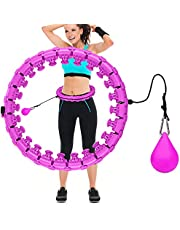 Comius Sharp Intelligente Hula Fitness Hoop, 24-delige fitnesscirkel, slimme Hula fitnesshoepel met massageknopstructuur, yoga-ring voor tieners en volwassenen, oefening, dans en fitness