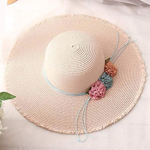 Yarmy hoeden voor dames, Zomer ouder Lady hoed Bloemen grote dakrand strandmuts Dome zonnehoed Makkelijk te vouwen en outdoor reizen essentieel