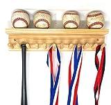 Baseball Bat Rack and Ball Holder Display Natural Finish Meant to Hold up to 11 Mini Collectible Bats and 4 Baseballs
