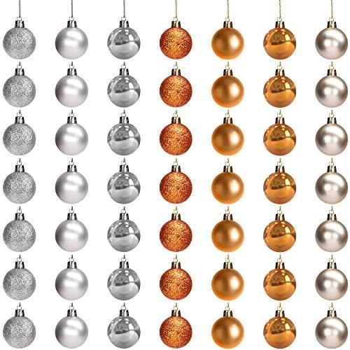 BELLE VOUS Christbaumkugeln (49 STK) - 3cm Weihnachtskugeln Christbaumschmuck Kugeln Silber Gold Kupfer mit Schnur – Weihnachtsbaum Kugeln Baumschmuck Aufhänger für Weihnachten, Weihnachtsdeko, Party