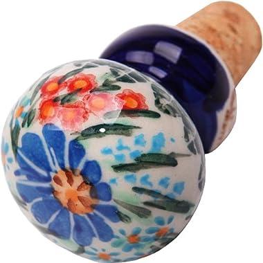 Polish Pottery Ceramika Boleslawiec 0804/169 2-3/4 by 1-1/2-Inch Motif Wine Stopper, Royal Blue Patterns