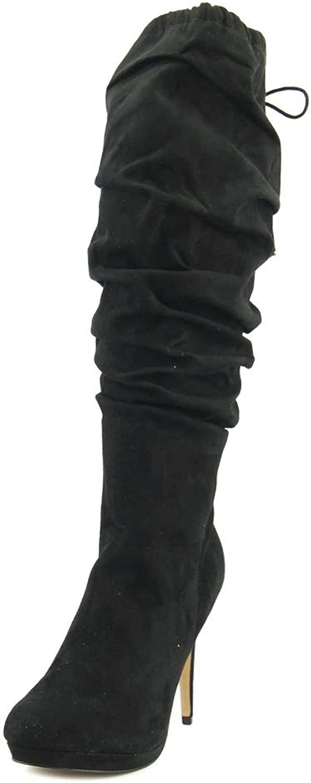 TS35 Brisa Slouch Platform Knee High Tassel Tie Dress Boots, Black, 10 US