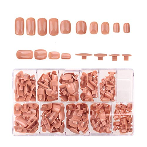 Enasuit Nail Tip 200pcs/pack Replacement Refill False Nail Fake Nails Tips Set For Practice Training Trainer Hand DIY Nail Art Salon Tips 5 Sizes (Brown)