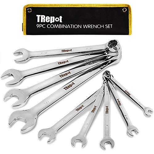 Trepot 9-Piece Premium Combination Wrench Set, Max Torque Open End and Box End Tool Set, Complete SAE Inch Sizes from 1/4