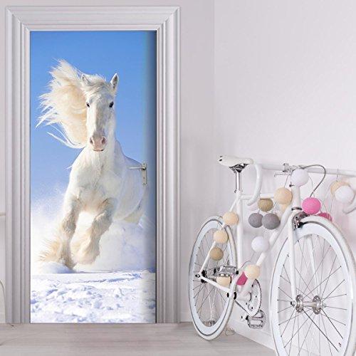 StickerProfis Türtapete selbstklebend TürPoster - WEISSES Pferd - Fototapete Türfolie Poster Tapete