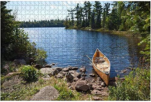 Vista desde el kayak azul en las orillas del río con rompecabezas amarillo otoñal grande de 1000 piezas para adultos,juguete educativo para adultos,niños,juego de rompecabezas grande,juguetes,regalo-