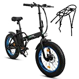 ECOTRIC Electric Fat Tire Bicycle Folding Bike 36V 12Ah 500W Lithium Battery Beach Snow Mountain 20' Ebike Moped - Extra Free Rear Rack(Black&Blue)