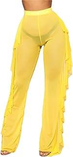 RUEWEY Women See Throug Mesh Flare Cover up Pants...