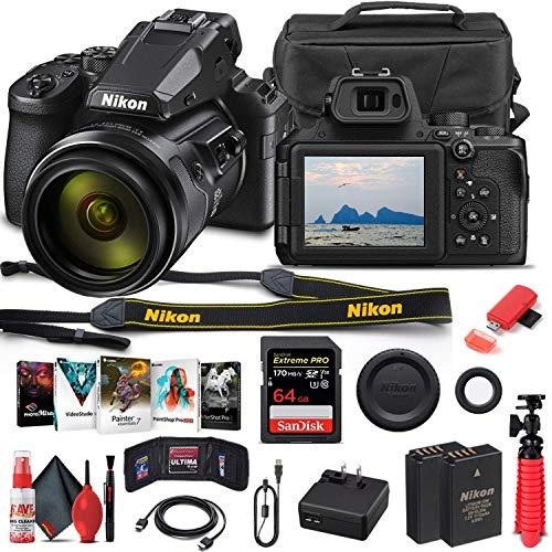 Nikon COOLPIX P950 Digital Camera (26532) + 64GB Memory Card + Case + Corel Photo Software + EN-EL 20 Battery + Card Reader + HDMI Cable + Deluxe Cleaning Set + Flex Tripod + Memory Wallet (Renewed)