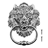 Be In Your Mind 15.8cm Lion Head Knocker With Screws Decorative Alloy Knocker Polished Bright Chrome Classic Antique Design For Front Doors & Main Porches Accessories