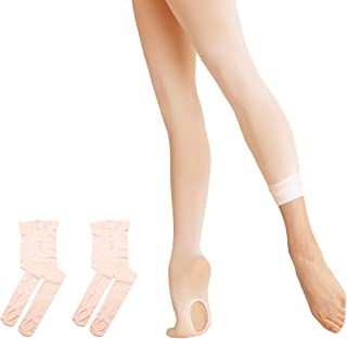 DIPUG Ballet Tights for Girls Ultra Soft Transition Convertible Dance Tights for Toddler