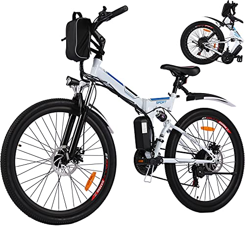 26' Electric Bike for Adult Electric Mountain Bike E-Bike, 250W Powerful Motor Electric Bicycle 25Km/H with Removable 8AH Lithium-Ion Battery Professional 21 Speed Gears (white)