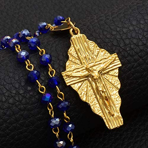 AO-06337 Handmade Jewelry Miami Great interest Mall Hawaii Cross Chain Blue Pendant Beads