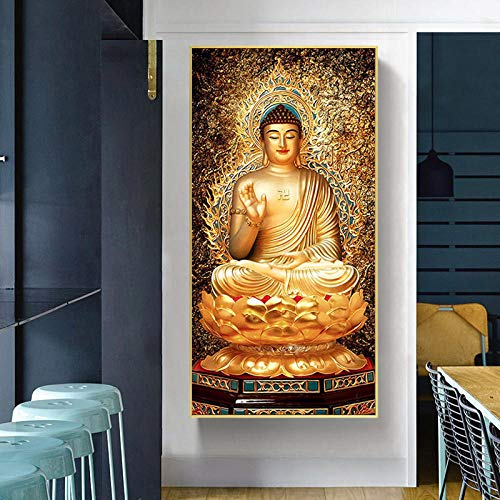 ZCFDXXH Nordic Style Wall Art Golden Buddha Lotus Paintings On Canvas Posters and Prints God Pictures for Living Room Home Decor-50x100cm(no Frame)