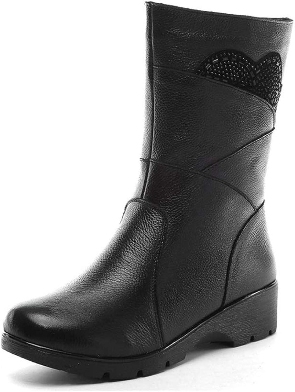 NOMIMAS Women's Mid Calf Boots Wedge Female Waterproof Cotton shoes Bead Pattern Side Zipper Footwear