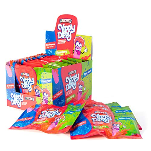 Zazers Yippy Dippy Sour Sweets | Hard Strawberry Candy Stick with Blue Raspberry Sour Sweet Powder and Green Apple Sour Powder Candy Novelty Candy Bulk Sweet Pack of 24