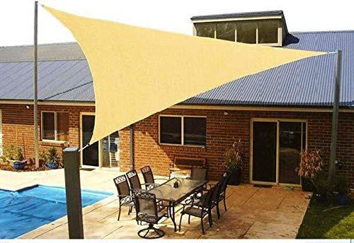 'N/A' Toldo de Vela de Sombra de Sol Impermeable de Bloque UV Triangular para jardín de Patio al Aire Libre 3x3x3m(Size:6×6×6m,Color:de Color Crema)