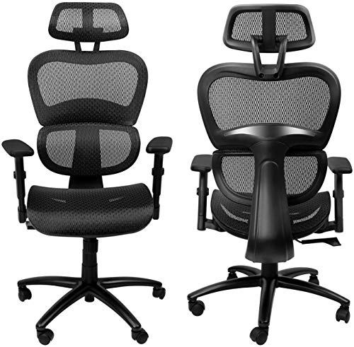 Komene Ergonomic Office Chair - Full Mesh Office Chair with 3D Lumbar Support, 3D Armrest and Adjustable Headrest, Breathable Home Office Desk Chair, Executive Task Chair, Computer Desk Chairs