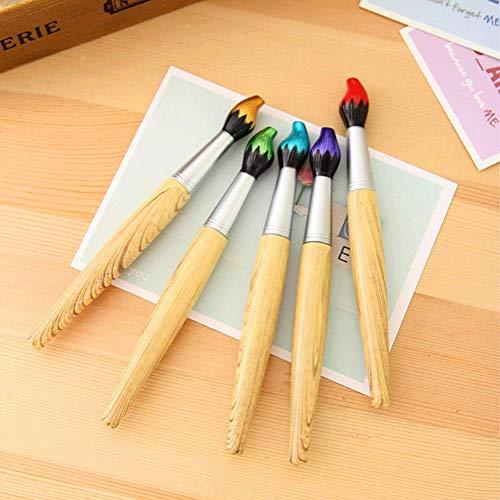 BOLLAER Schreibpinsel-Kugelschreiber, Bambus-Pinselform, Kugelschreiber mit einziehbarer Pinseltinte für Kunst-Aktivitäten und Schul-Schreibwaren, Weihnachten Halloween