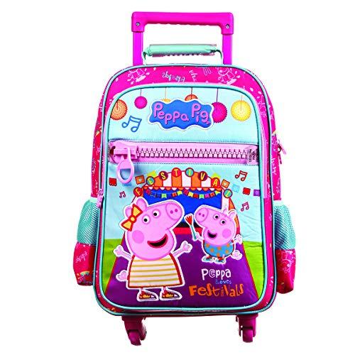 Mala Escolar G c/ 4 rodinhas - 360 Peppa Pig Polinylon, Dermiwil, 37474, Rosa