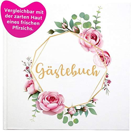 ZARWALD Gästebuch zur Hochzeit, Geburtstag   Premium Soft Touch-Folien Hardcover   144 Seiten mit Blumen   Weiß, Rose, Gold, Herz   21 x 21 cm