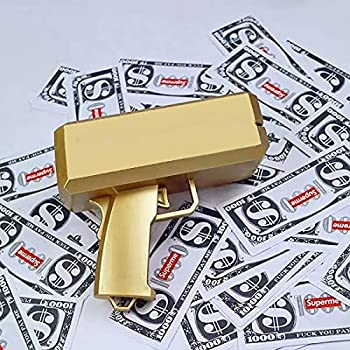 Jackky Super Money Guns,Dollar Gun  Metallic Gold ,Toy Gun Handheld Cash Gun for Party Celebration