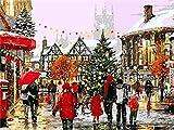 ZUIAIIUYA Pintar por Numeros Adultos Niños DIY Pintura por Números con Pinceles Y Pinturas,Regalos De Decoración del Hogar-Navidad Nevada(16 * 20 Pulgadas, Sin Marco)