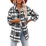 Lomelomme Blusa para mujer, camisa a cuadros, informal, elegante, con botones, túnica, otoño, invierno, a cuadros, boyfriend, con bolsillos, chaqueta de leñador, gris, L