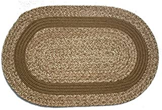 product image for Oval Braided Rug (2'x4'): Brown Tweed - Brown Band