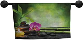 xixiBO Sand-Free Towel W 28 x L 14(inch) Children's Towel,Spa,Orchid Bamboo Stems Chakra Stones Japanese Alternative with Feng Shui Elements,Apple Green Fuchsia