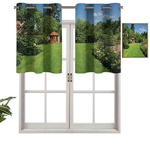 Blackout Short Curtain Valances Thermal Insulated GrommetPeaceful Countryside Landscape with Blooming Roses Brick Path and a Small Gazebo, Set of 1, 52'x18' Small Half Window Valances for Bedroom