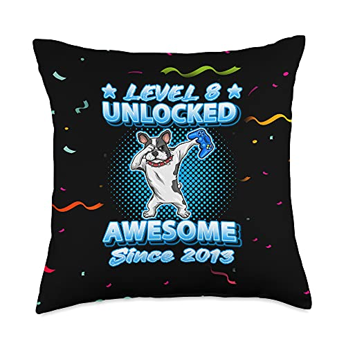 Teeisle 8th Birthday Clothing Version 2021 Level 8 Unlocked Awesome Since 2013 Dabbing French Bulldog Throw Pillow, 18x18, Multicolor