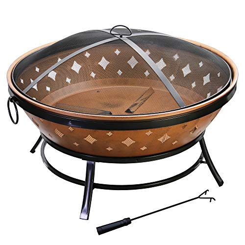 ABBLE 35 in. Outdoor Metal Cover Wood Burning Fire Pit with...