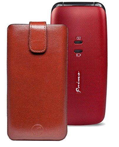 Original Favory Etui Tasche für / DORO Primo 401 / Leder Handytasche Ledertasche Schutzhülle Hülle Hülle *Speziell - Lasche mit Rückzugfunktion* in braun