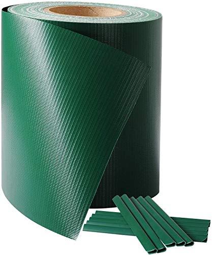 Laneetal Rollo de Cintas de protección Visual de PVC 70x0.19m Tiras de Privacidad y Pantallas Protectoras Valla de Jardín Balcón Resistente UV y al Viento con 25 Clips de Fijación Verde