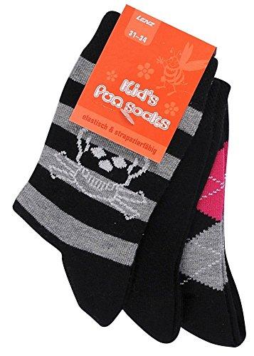 Lenz Kinder Socken Totenkopf 3 Paar, Schwarz, 27-30, 606-10