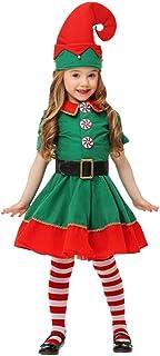 Fossen Niña Ropa, Fossen Disfraz Elfo Navidad Niñas Niños 2-16 Años Tops + Pantalones + Gorra + Calcetines Duende Costume Vestirse