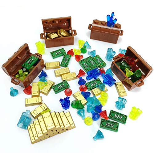 Treasure Accessories Set Building Blocks Bullion Money Gold Bar Jewelry Toy Parts Brick