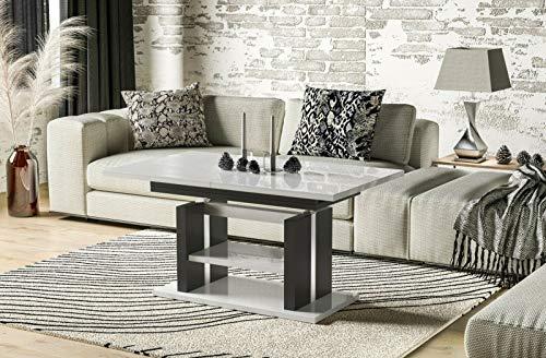 Endo-Moebel Couchtisch 110cm erweiterbar auf 170cm höhenverstellbar Doppellift modern Tisch (Weiß Hochglanz)